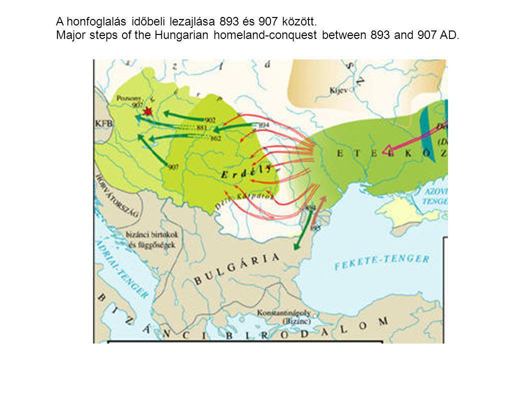A honfoglalás időbeli lezajlása 893 és 907 között. Major steps of the Hungarian homeland-conquest between 893 and 907 AD.