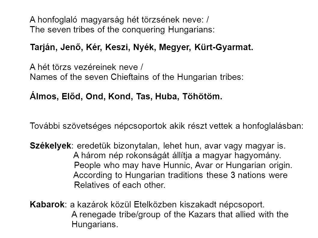 A honfoglaló magyarság hét törzsének neve: / The seven tribes of the conquering Hungarians: Tarján, Jenő, Kér, Keszi, Nyék, Megyer, Kürt-Gyarmat. A hé