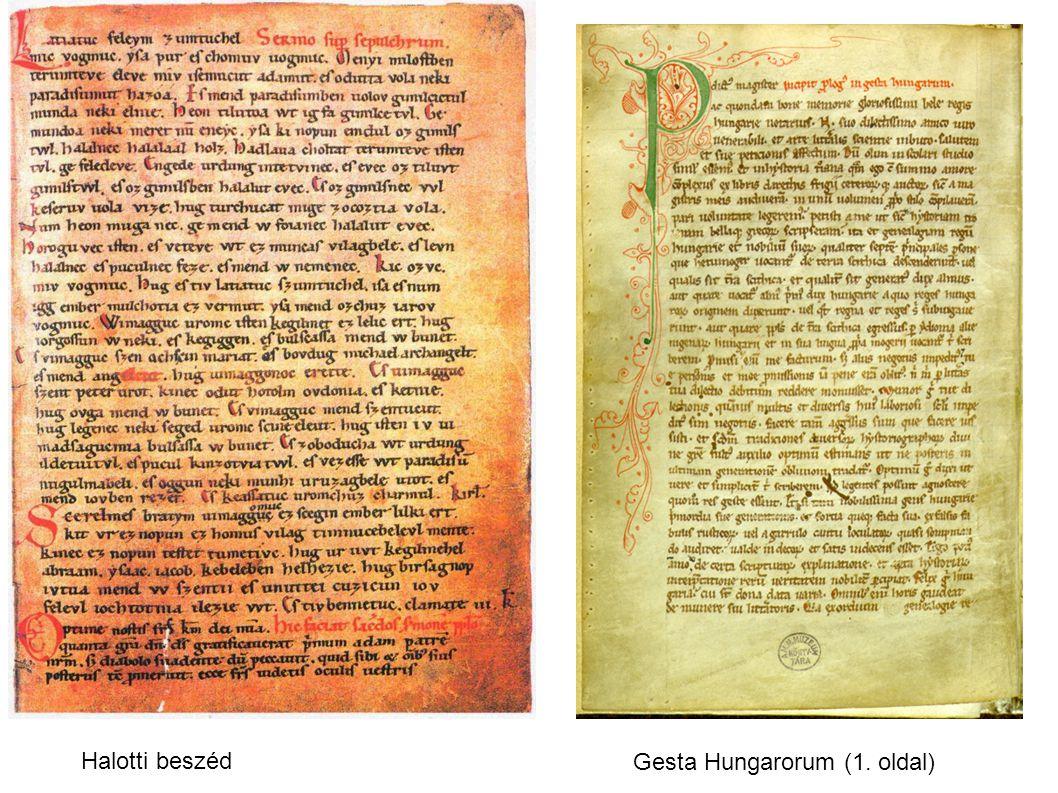Halotti beszéd Gesta Hungarorum (1. oldal)