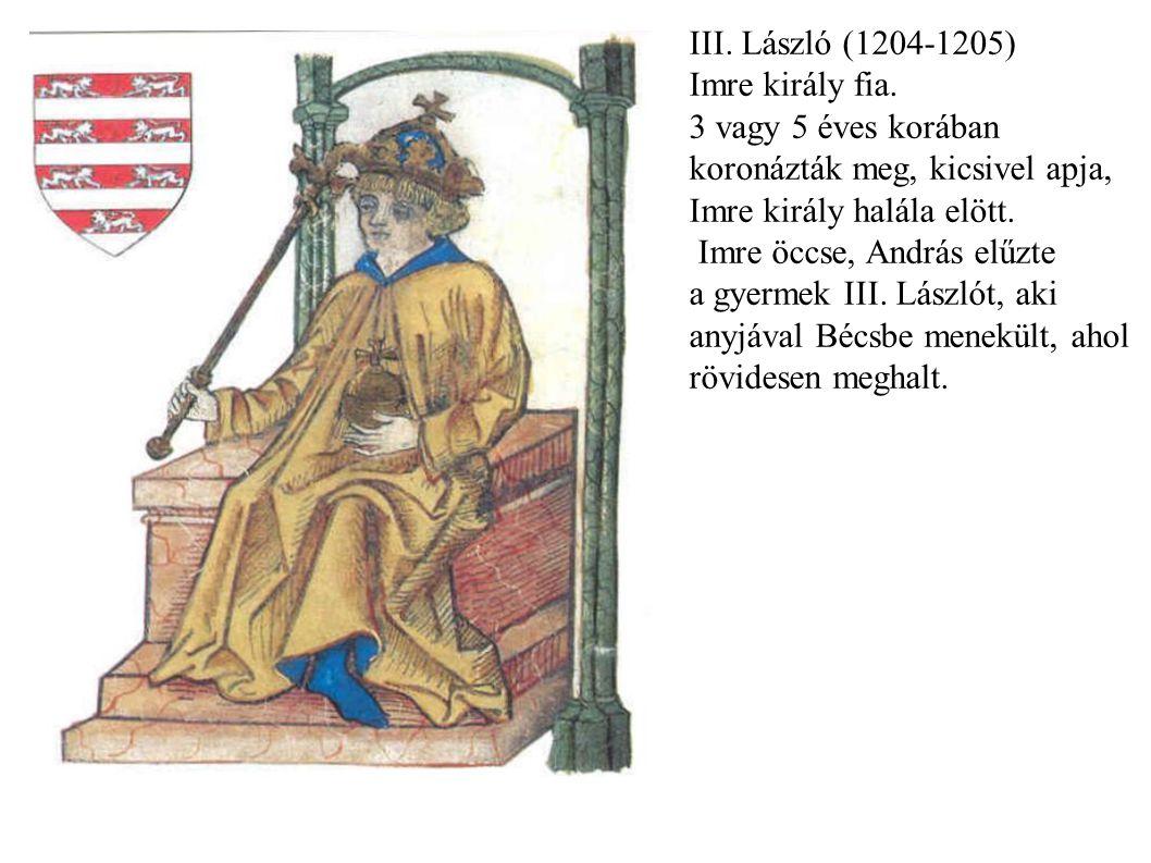 III. László (1204-1205) Imre király fia. 3 vagy 5 éves korában koronázták meg, kicsivel apja, Imre király halála elött. Imre öccse, András elűzte a gy