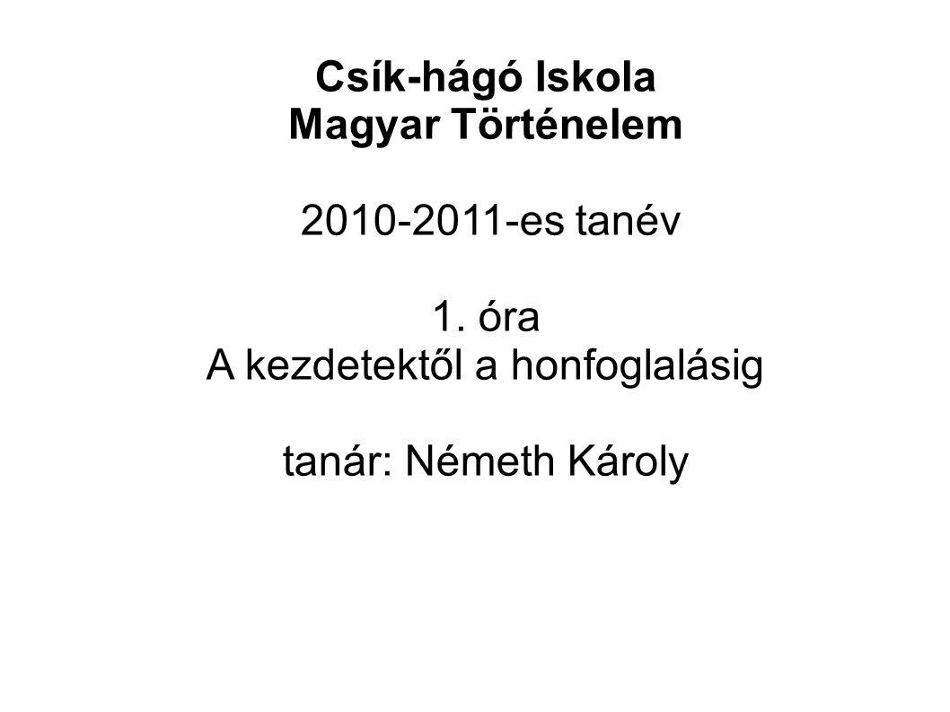 Csík-hágó Iskola Magyar Történelem 2010-2011-es tanév 1.