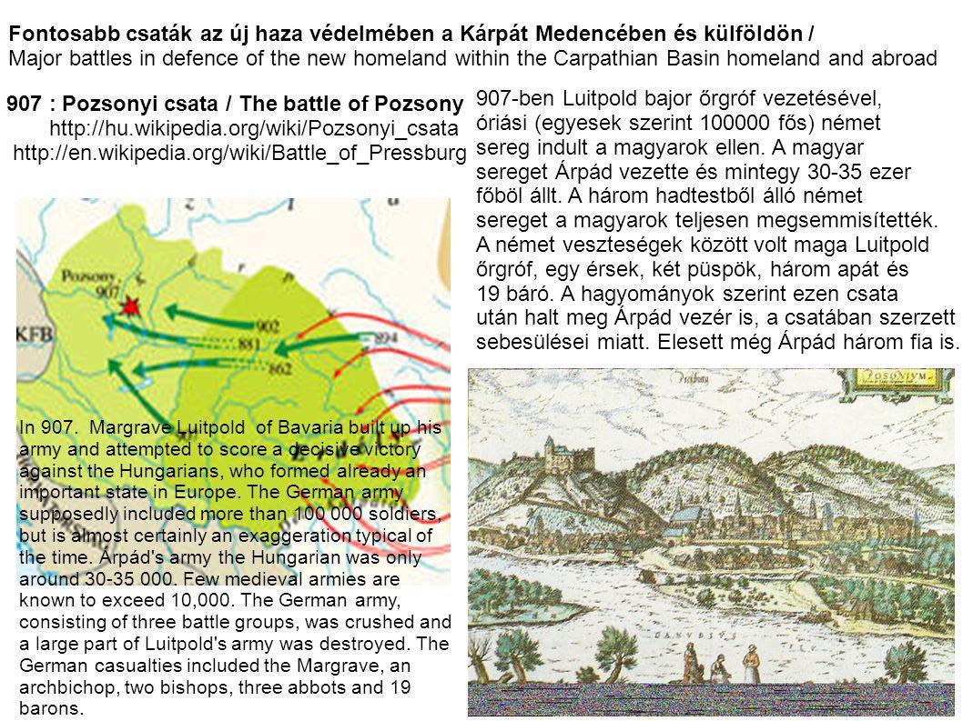 Fontosabb csaták az új haza védelmében a Kárpát Medencében és külföldön / Major battles in defence of the new homeland within the Carpathian Basin hom