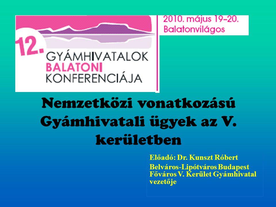 Nemzetközi vonatkozású Gyámhivatali ügyek az V. kerületben Előadó: Dr. Kunszt Róbert Belváros-Lipótváros Budapest Főváros V. Kerület Gyámhivatal vezet