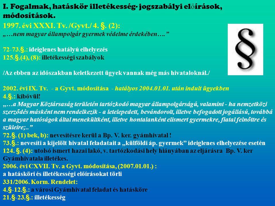 """1997. évi XXXI. Tv. /Gyvt./ 4. §. (2): """"…nem magyar állampolgár gyermek védelme érdekében…."""" 72-73.§.: ideiglenes hatályú elhelyezés 125.§.(4), (8): i"""