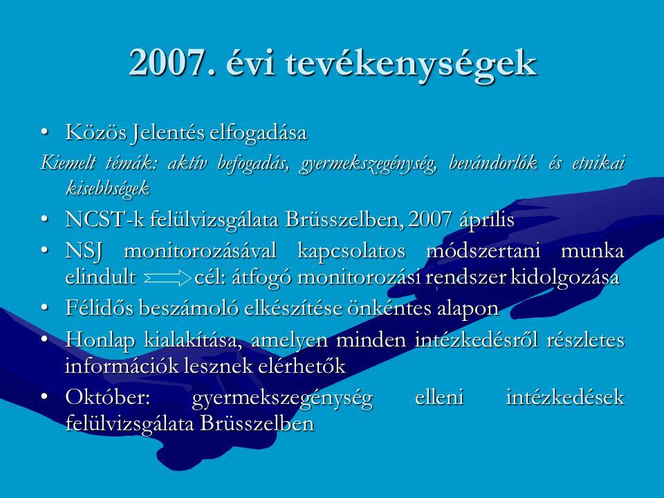 2007. évi tevékenységek Közös Jelentés elfogadásaKözös Jelentés elfogadása Kiemelt témák: aktív befogadás, gyermekszegénység, bevándorlók és etnikai k