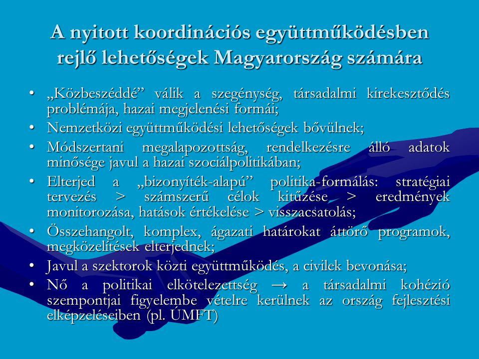 """A nyitott koordinációs együttműködésben rejlő lehetőségek Magyarország számára """"Közbeszéddé"""" válik a szegénység, társadalmi kirekesztődés problémája,"""