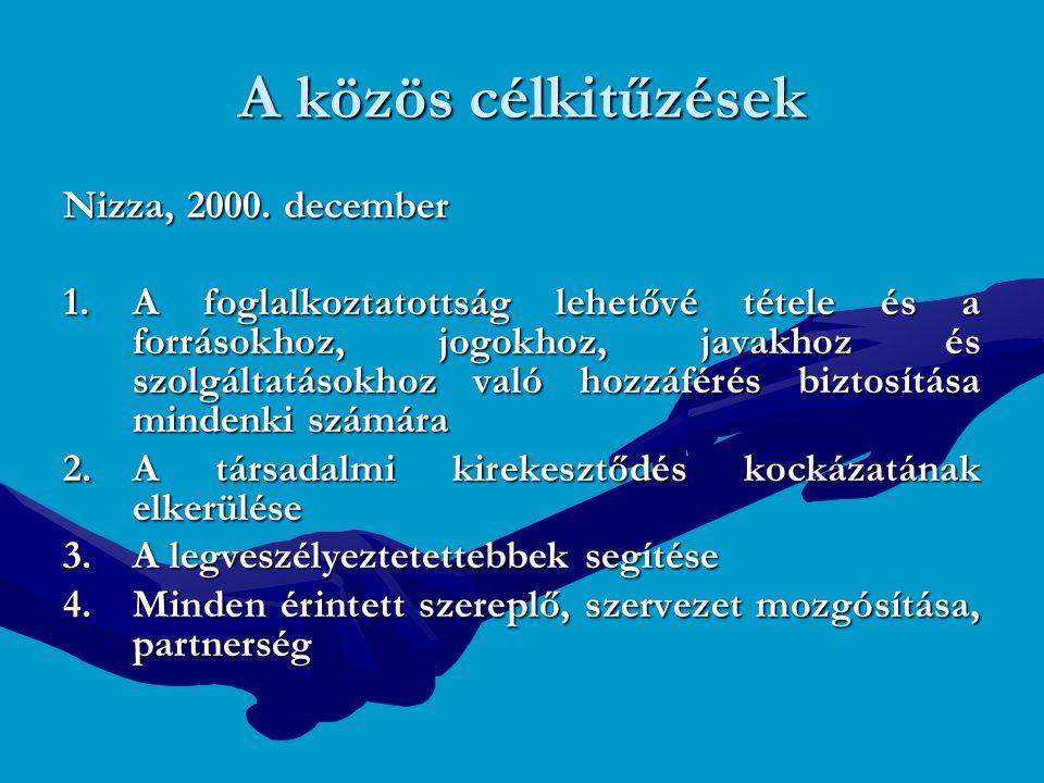 A közös célkitűzések Nizza, 2000. december 1.A foglalkoztatottság lehetővé tétele és a forrásokhoz, jogokhoz, javakhoz és szolgáltatásokhoz való hozzá