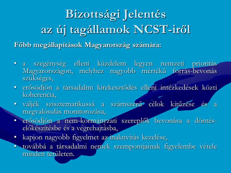 A nyitott koordináció modernizálása 2005: Lisszaboni stratégia felülvizsgálata Gazdasági növekedés és foglalkoztatás elsődleges fontosságú Gazdasági növekedés és foglalkoztatás elsődleges fontosságú Közös stratégia-alkotás bevezetése Nemzeti Lisszaboni Reformprogramok 2005-2008 Nemzeti Lisszaboni Reformprogramok 2005-2008 Szociálpolitikai Menetrend 2005-2010 Szociális védelem területén folyó három nyitott koordinációs együttműködés összehangolása: 1.Szegénység és társadalmi kirekesztődés 2.Megfelelő és fenntartható nyugdíjrendszerek 3.Egészségügyi és tartós ápolási-gondozási rendszerek