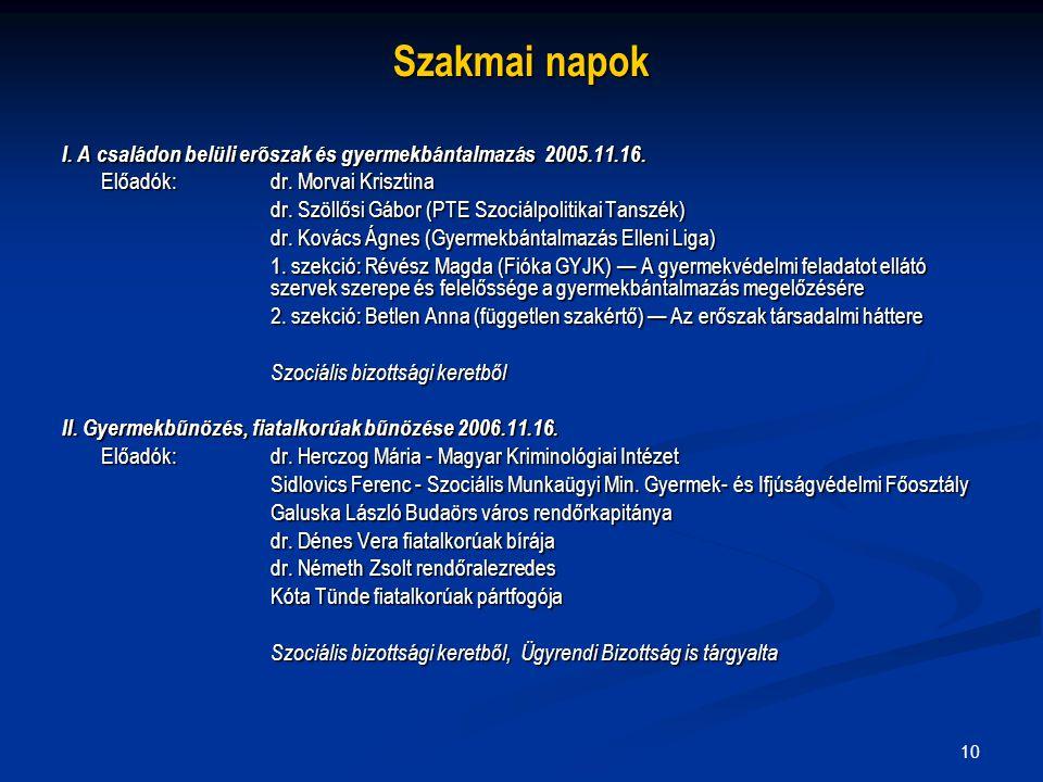 10 Szakmai napok I. A családon belüli erőszak és gyermekbántalmazás 2005.11.16. Előadók:dr. Morvai Krisztina dr. Szöllősi Gábor (PTE Szociálpolitikai