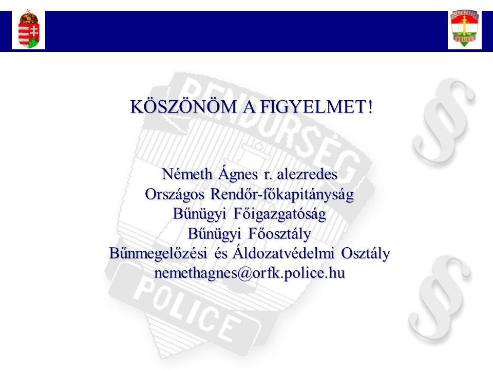 23 KÖSZÖNÖM A FIGYELMET! KÖSZÖNÖM A FIGYELMET! Németh Ágnes r. alezredes Országos Rendőr-főkapitányság Bűnügyi Főigazgatóság Bűnügyi Főosztály Bűnmege