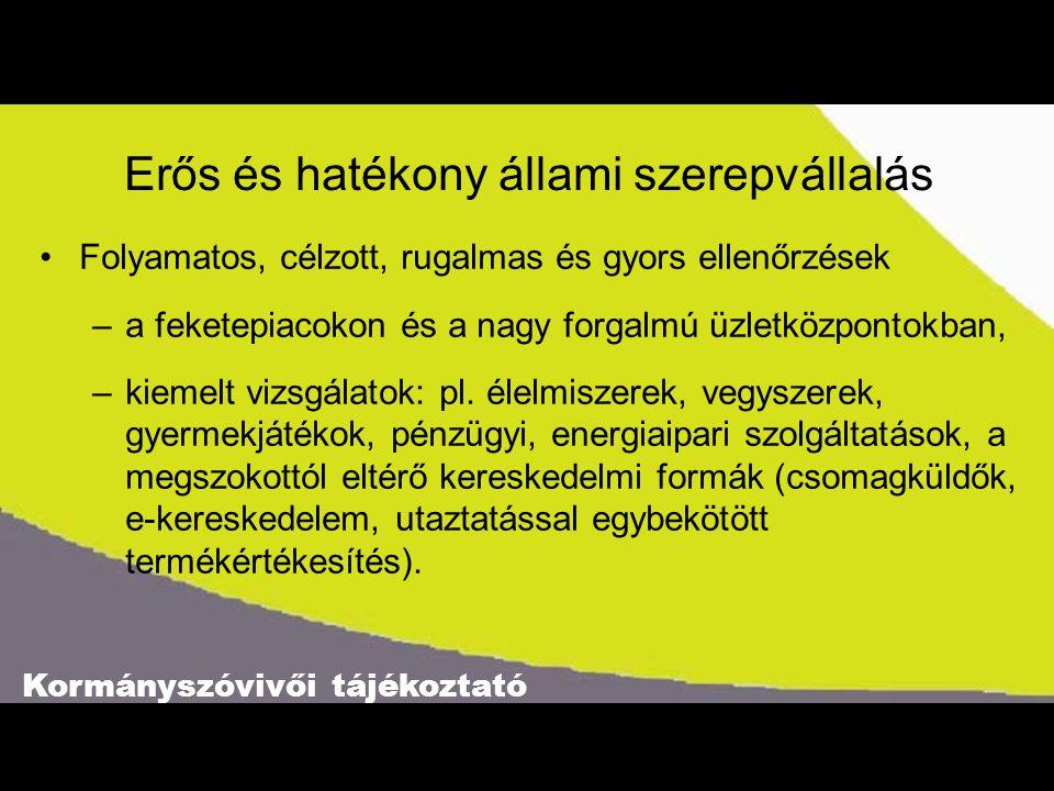Kormányszóvivői tájékoztató Erős és hatékony állami szerepvállalás Folyamatos, célzott, rugalmas és gyors ellenőrzések –a feketepiacokon és a nagy forgalmú üzletközpontokban, –kiemelt vizsgálatok: pl.