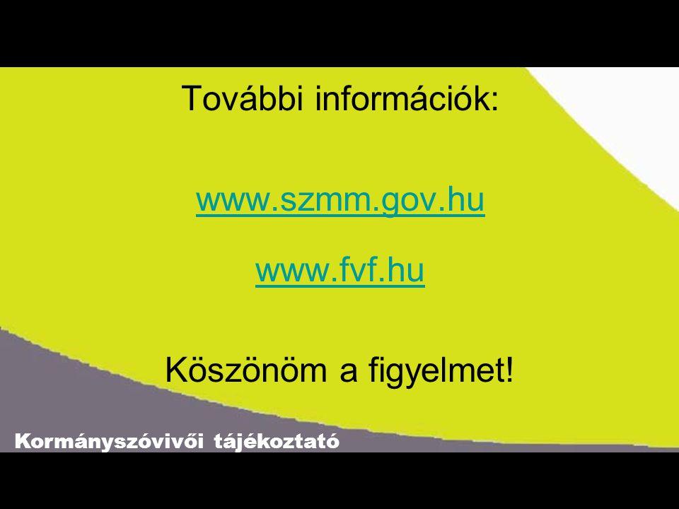 Kormányszóvivői tájékoztató További információk: www.szmm.gov.hu www.fvf.hu Köszönöm a figyelmet!