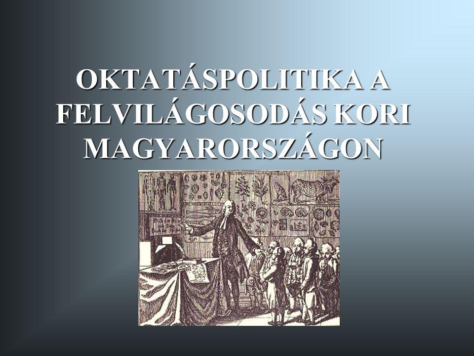 Mária Terézia reformjai Oktatáspolitikai reformintézkedései 1766 - az iskolák összeírása 1769 - az iskolaügy feletti felügyelet királyi felségjog 1774 - a Felbiger-féle reform 1776 - az ország tankerületekre osztása 1777 - Ratio Educationis Mária Terézia