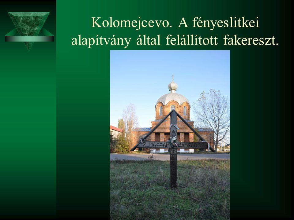 Kolomejcevo. A fényeslitkei alapítvány által felállított fakereszt.