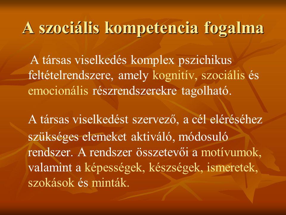A szociális kompetencia fogalma A társas viselkedés komplex pszichikus feltételrendszere, amely kognitív, szociális és emocionális részrendszerekre ta
