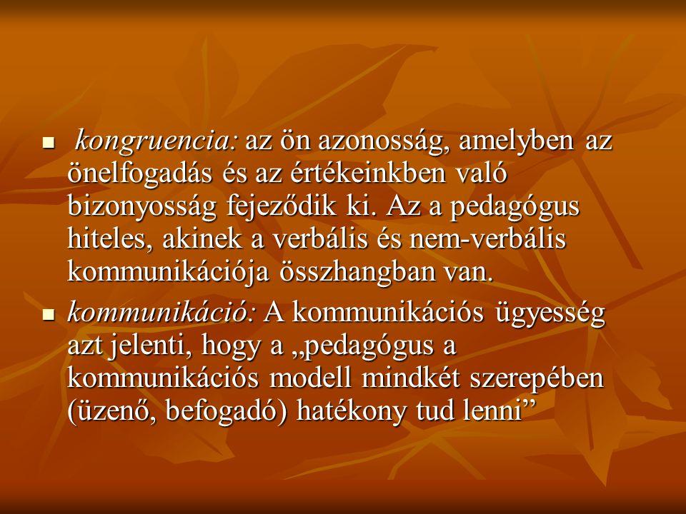 kongruencia: az ön azonosság, amelyben az önelfogadás és az értékeinkben való bizonyosság fejeződik ki. Az a pedagógus hiteles, akinek a verbális és n