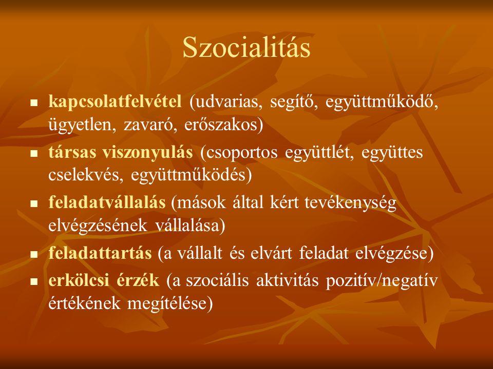 Szocialitás kapcsolatfelvétel (udvarias, segítő, együttműködő, ügyetlen, zavaró, erőszakos) társas viszonyulás (csoportos együttlét, együttes cselekvé