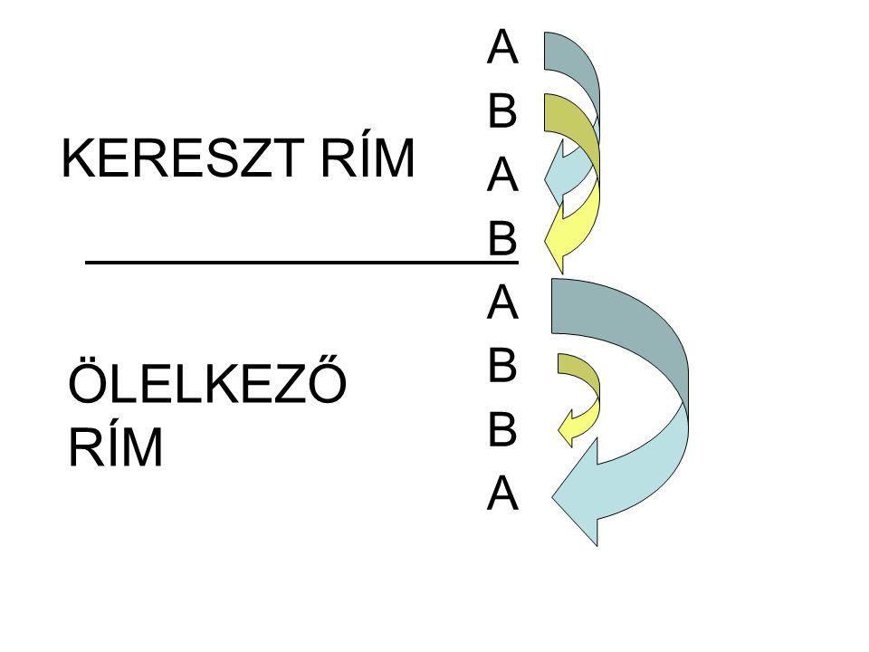 A B A B A B B A KERESZT RÍM ÖLELKEZŐ RÍM