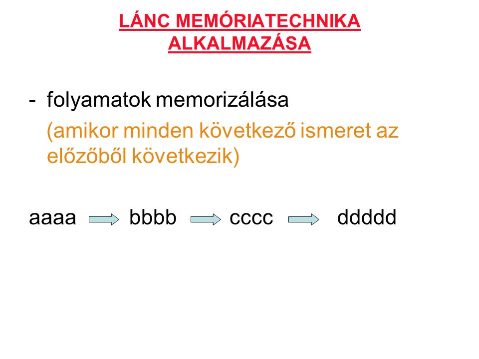 LÁNC MEMÓRIATECHNIKA ALKALMAZÁSA -folyamatok memorizálása (amikor minden következő ismeret az előzőből következik) aaaa bbbb cccc ddddd