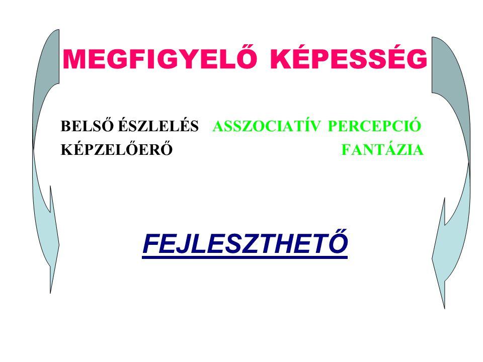 MEGFIGYELŐ KÉPESSÉG B ELSŐ ÉSZLELÉS ASSZOCIATÍV PERCEPCIÓ K ÉPZELŐERŐ F ANTÁZIA FEJLESZTHETŐ