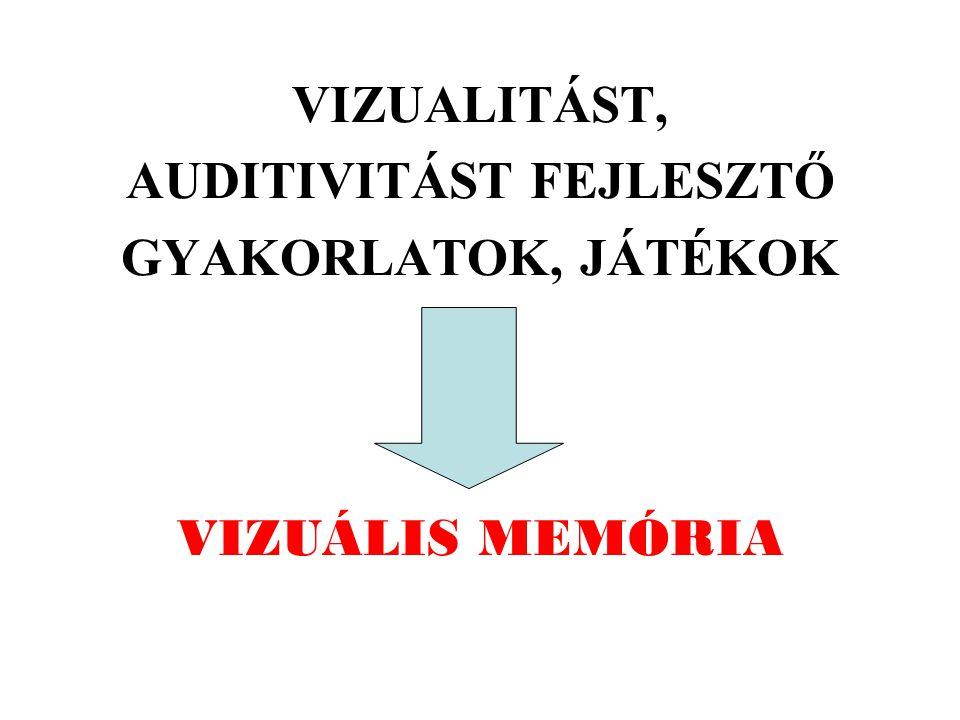 VIZUÁLIS MEMÓRIA VIZUALITÁST, AUDITIVITÁST FEJLESZTŐ GYAKORLATOK, JÁTÉKOK