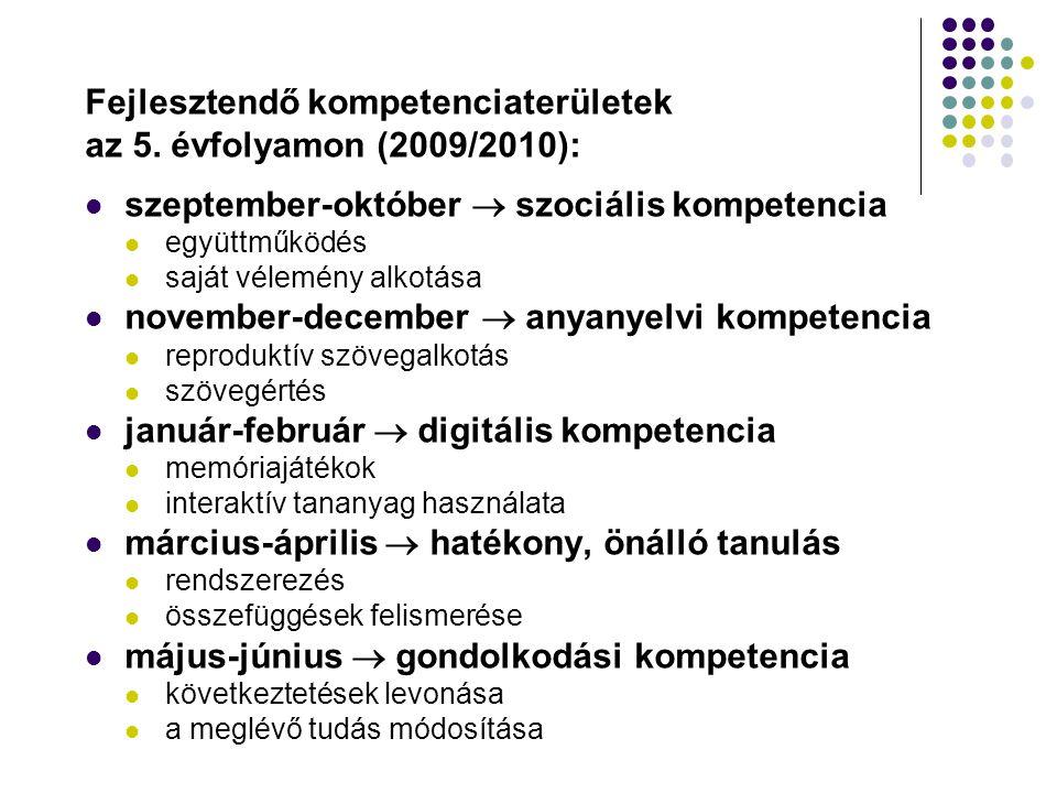 Fejlesztendő kompetenciaterületek az 5. évfolyamon (2009/2010): szeptember-október  szociális kompetencia együttműködés saját vélemény alkotása novem