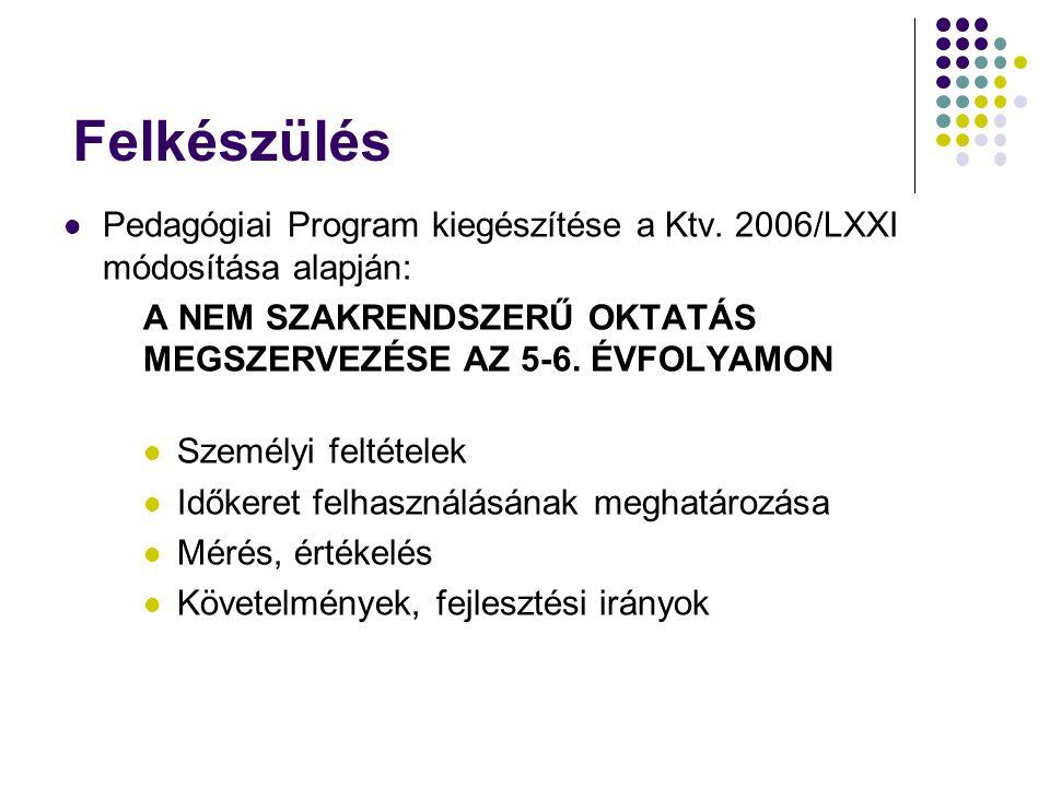 Felkészülés Pedagógiai Program kiegészítése a Ktv. 2006/LXXI módosítása alapján: A NEM SZAKRENDSZERŰ OKTATÁS MEGSZERVEZÉSE AZ 5-6. ÉVFOLYAMON Személyi