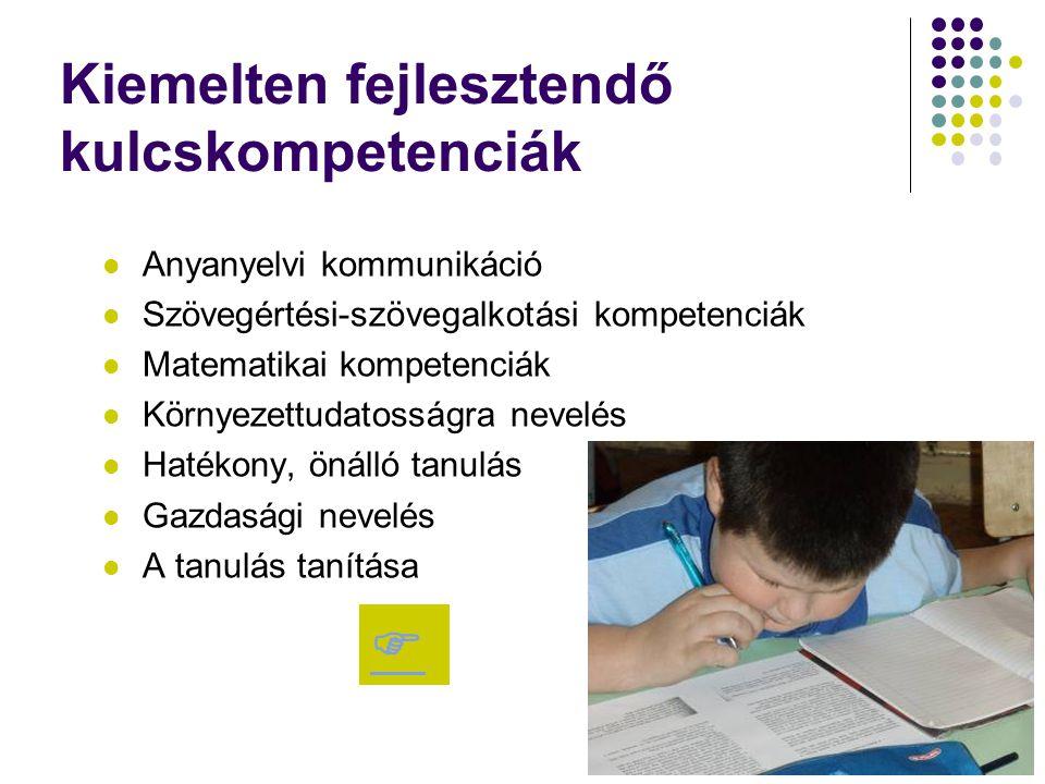 Kiemelten fejlesztendő kulcskompetenciák Anyanyelvi kommunikáció Szövegértési-szövegalkotási kompetenciák Matematikai kompetenciák Környezettudatosság