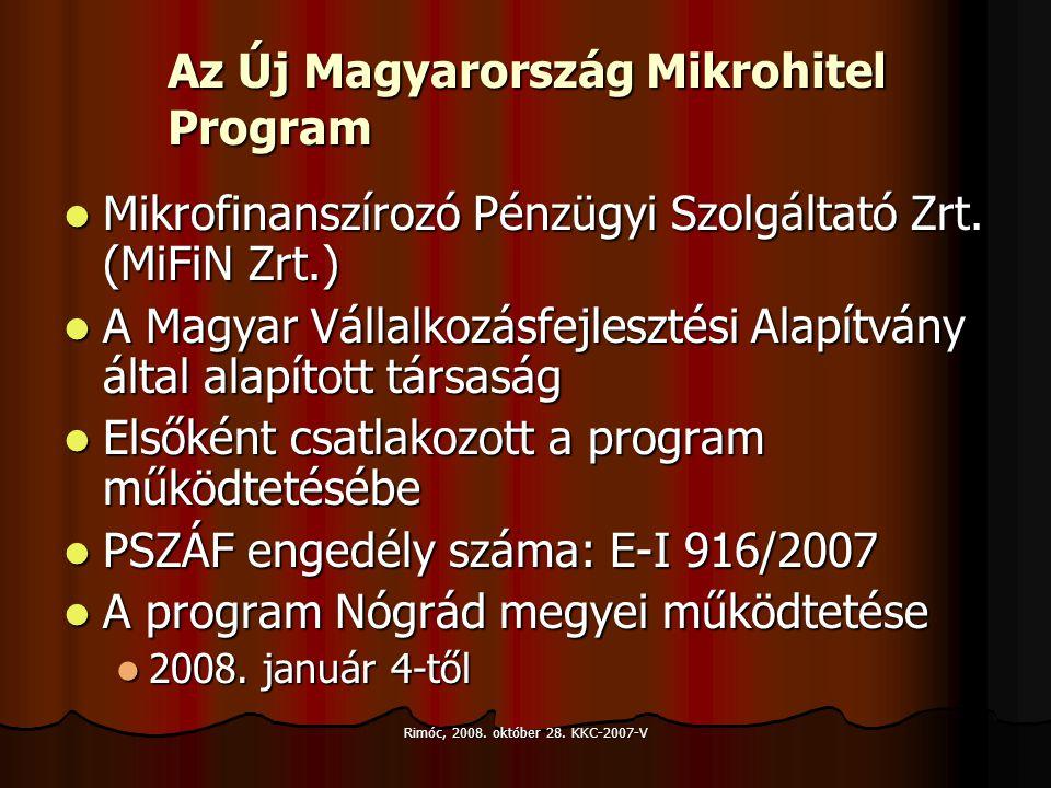 Rimóc, 2008. október 28. KKC-2007-V Az Új Magyarország Mikrohitel Program Mikrofinanszírozó Pénzügyi Szolgáltató Zrt. (MiFiN Zrt.) Mikrofinanszírozó P