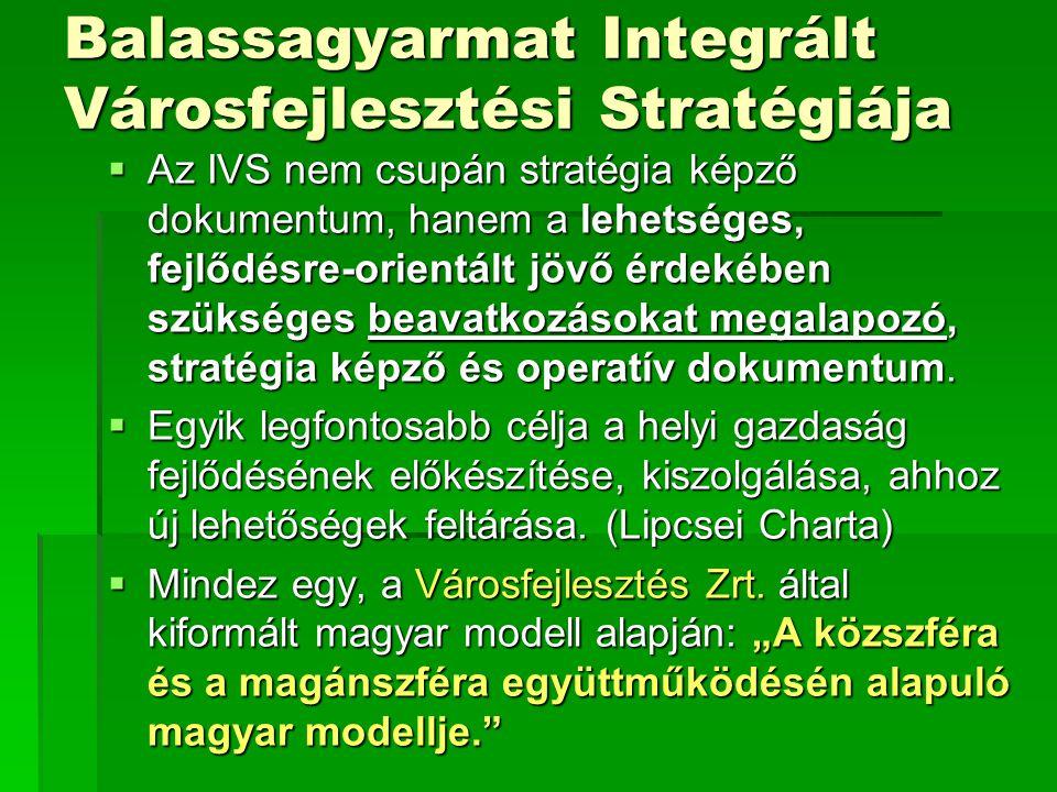 Balassagyarmat Integrált Városfejlesztési Stratégiája  Az IVS nem csupán stratégia képző dokumentum, hanem a lehetséges, fejlődésre-orientált jövő érdekében szükséges beavatkozásokat megalapozó, stratégia képző és operatív dokumentum.