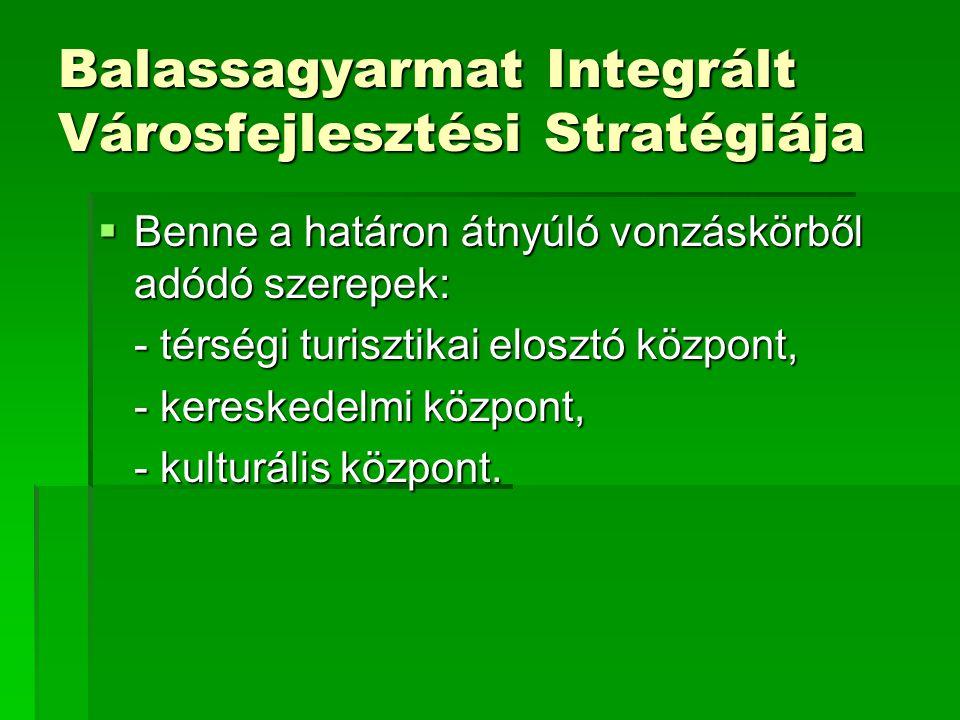 Balassagyarmat Integrált Városfejlesztési Stratégiája  Benne a határon átnyúló vonzáskörből adódó szerepek: - térségi turisztikai elosztó központ, - kereskedelmi központ, - kulturális központ.