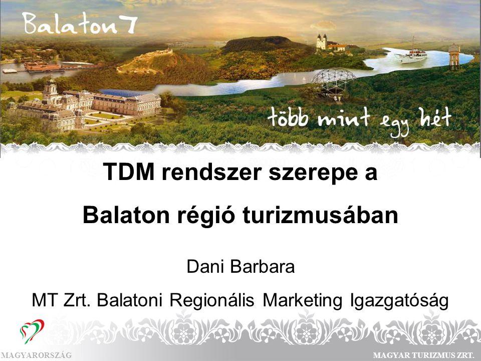 MAGYARORSZÁGMAGYAR TURIZMUS ZRT. TDM rendszer szerepe a Balaton régió turizmusában Dani Barbara MT Zrt. Balatoni Regionális Marketing Igazgatóság