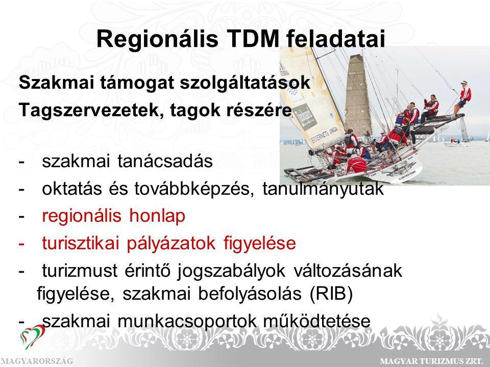 MAGYARORSZÁGMAGYAR TURIZMUS ZRT. Regionális TDM feladatai Szakmai támogat szolgáltatások Tagszervezetek, tagok részére - szakmai tanácsadás - oktatás