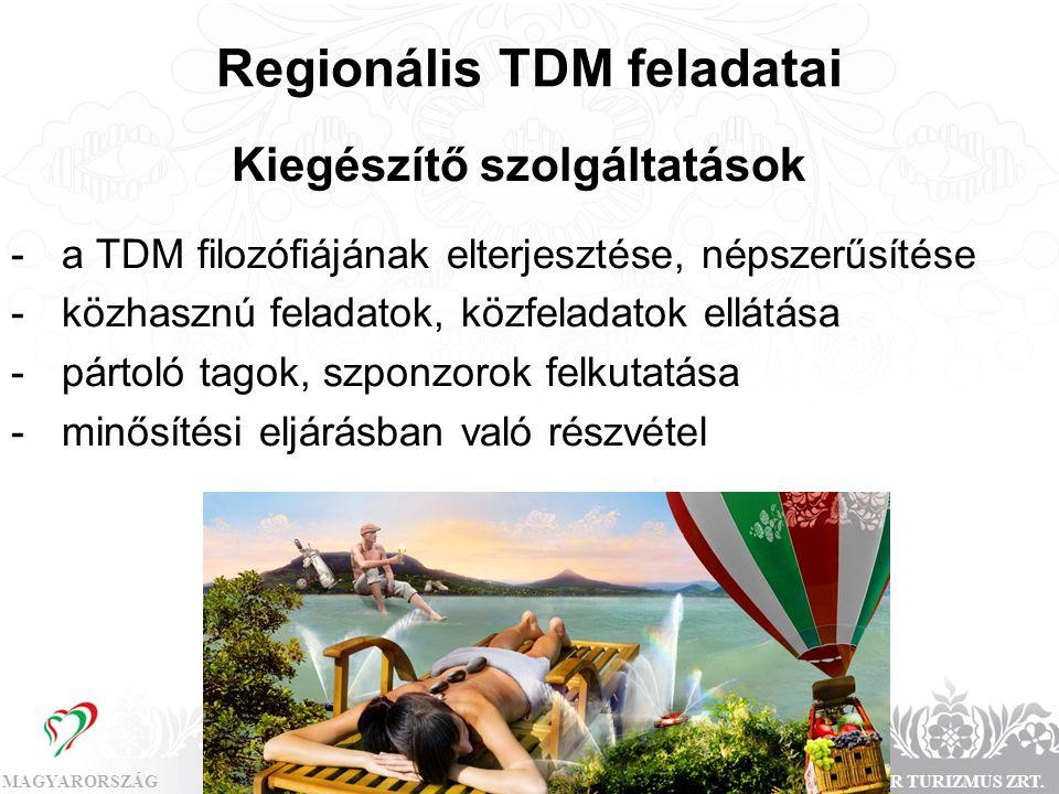 MAGYARORSZÁGMAGYAR TURIZMUS ZRT. Regionális TDM feladatai Kiegészítő szolgáltatások - a TDM filozófiájának elterjesztése, népszerűsítése - közhasznú f