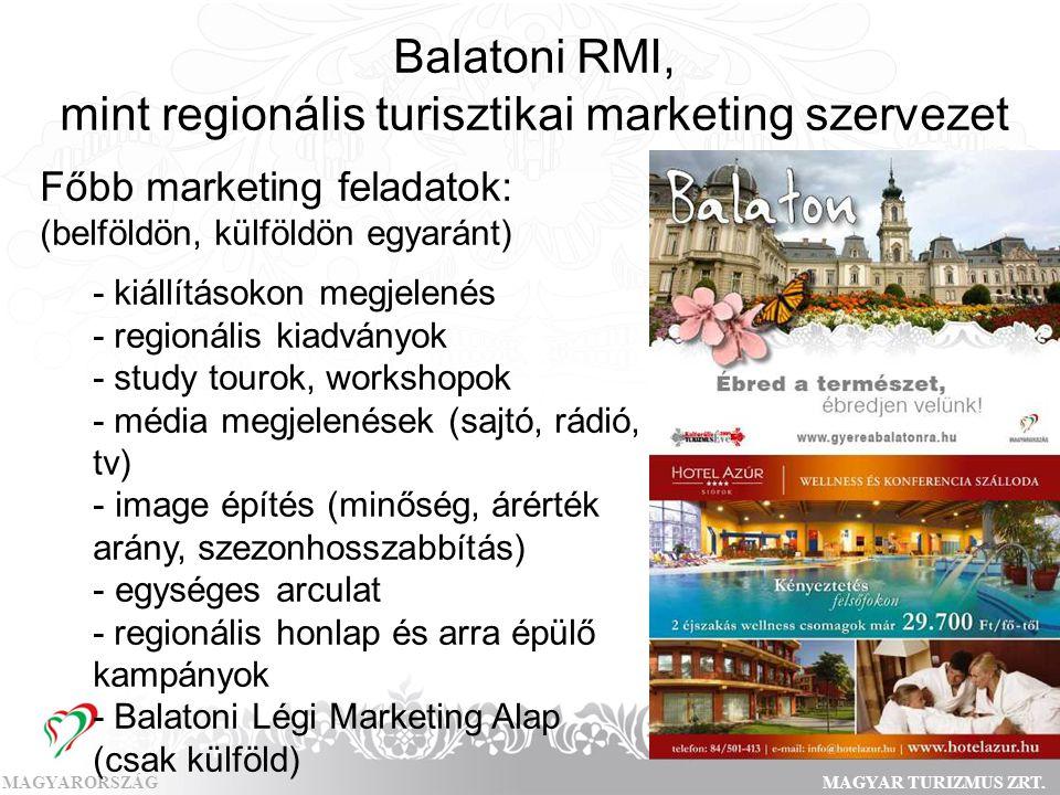 MAGYARORSZÁGMAGYAR TURIZMUS ZRT. Balatoni RMI, mint regionális turisztikai marketing szervezet Főbb marketing feladatok: (belföldön, külföldön egyarán