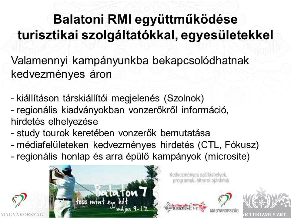 MAGYARORSZÁGMAGYAR TURIZMUS ZRT. Balatoni RMI együttműködése turisztikai szolgáltatókkal, egyesületekkel Valamennyi kampányunkba bekapcsolódhatnak ked