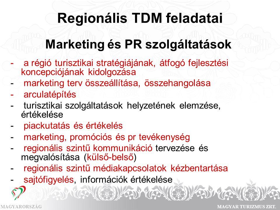 MAGYARORSZÁGMAGYAR TURIZMUS ZRT. Regionális TDM feladatai Marketing és PR szolgáltatások - a régió turisztikai stratégiájának, átfogó fejlesztési konc
