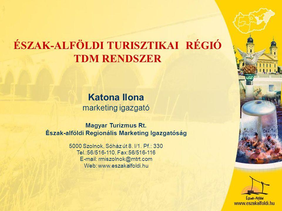 ÉSZAK-ALFÖLDI TURISZTIKAI RÉGIÓ TDM RENDSZER Katona Ilona marketing igazgató Magyar Turizmus Rt.
