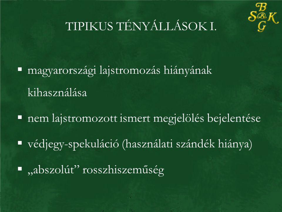 TIPIKUS TÉNYÁLLÁSOK I.