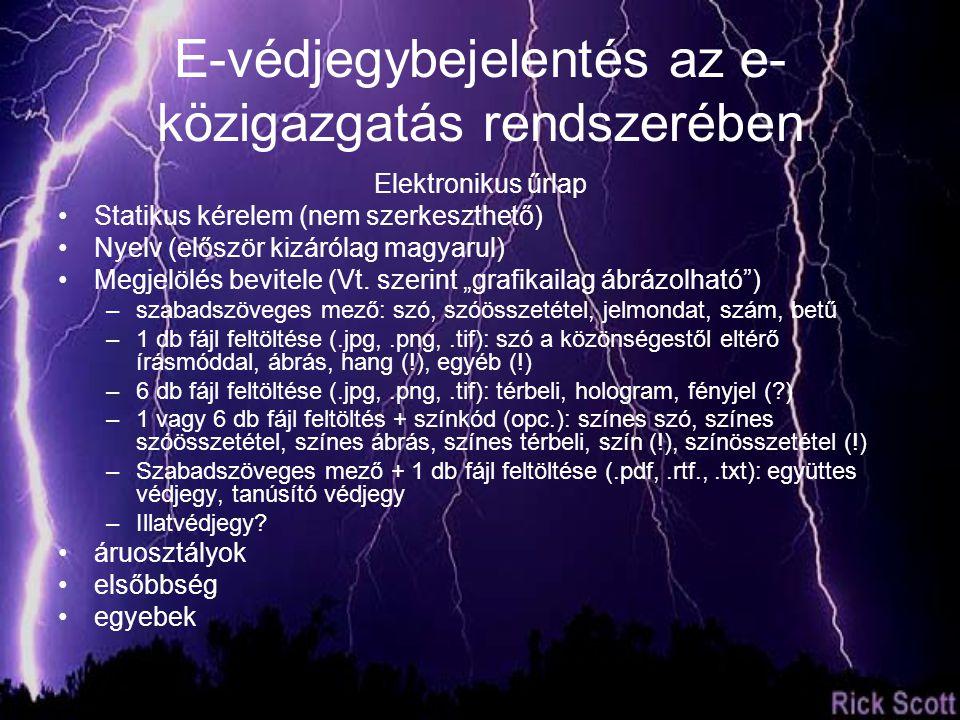Elektronikus űrlap Statikus kérelem (nem szerkeszthető) Nyelv (először kizárólag magyarul) Megjelölés bevitele (Vt.