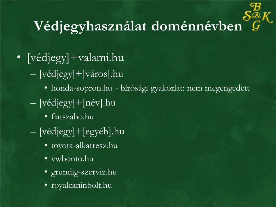 Védjegyhasználat doménnévben [védjegy]+valami.hu –[védjegy]+[város].hu honda-sopron.hu - bírósági gyakorlat: nem megengedett –[védjegy]+[név].hu fiatszabo.hu –[védjegy]+[egyéb].hu toyota-alkatresz.hu vwbonto.hu grundig-szerviz.hu royalcaninbolt.hu