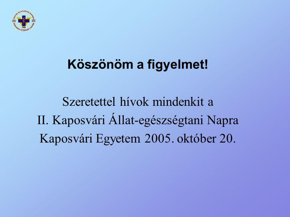 Köszönöm a figyelmet! Szeretettel hívok mindenkit a II. Kaposvári Állat-egészségtani Napra Kaposvári Egyetem 2005. október 20.