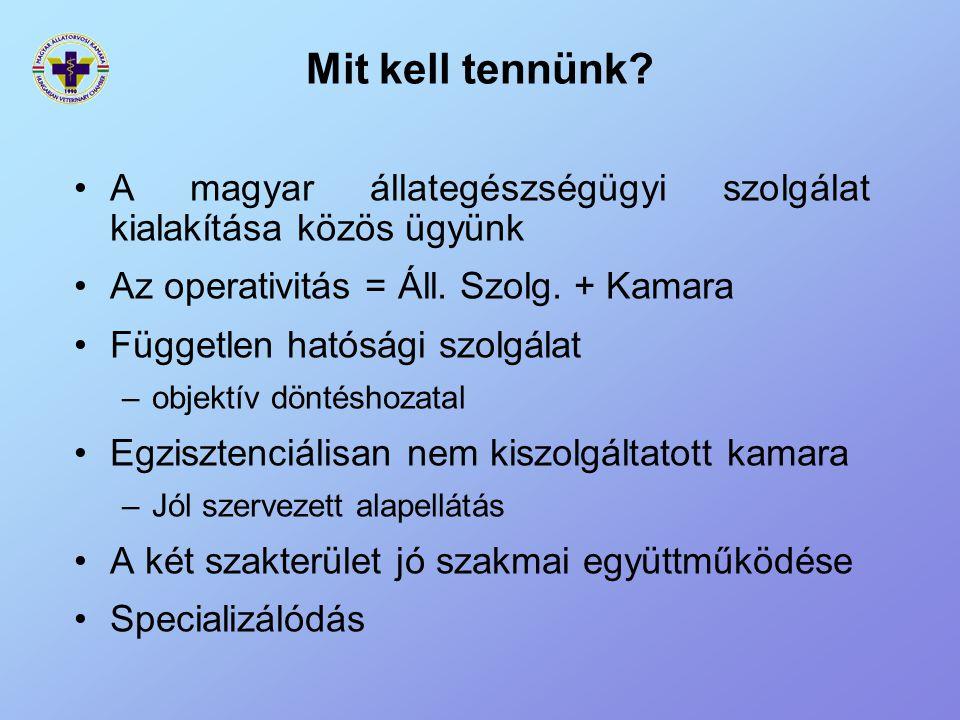 Mit kell tennünk? A magyar állategészségügyi szolgálat kialakítása közös ügyünk Az operativitás = Áll. Szolg. + Kamara Független hatósági szolgálat –o