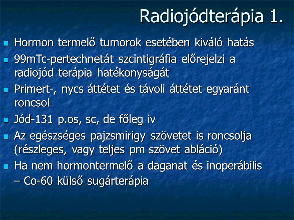 Pajzsmirigy terápia radiofarmakonja 131-Jód 131-Jód Specifikus radio gyógyszer. Részt vesz a jódanyagcserében, részt vesz a T4 hormon szintézisében.