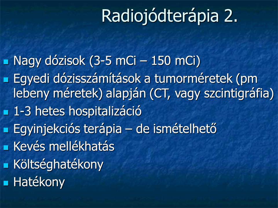 Radiojódterápia 1. Hormon termelő tumorok esetében kiváló hatás Hormon termelő tumorok esetében kiváló hatás 99mTc-pertechnetát szcintigráfia előrejel