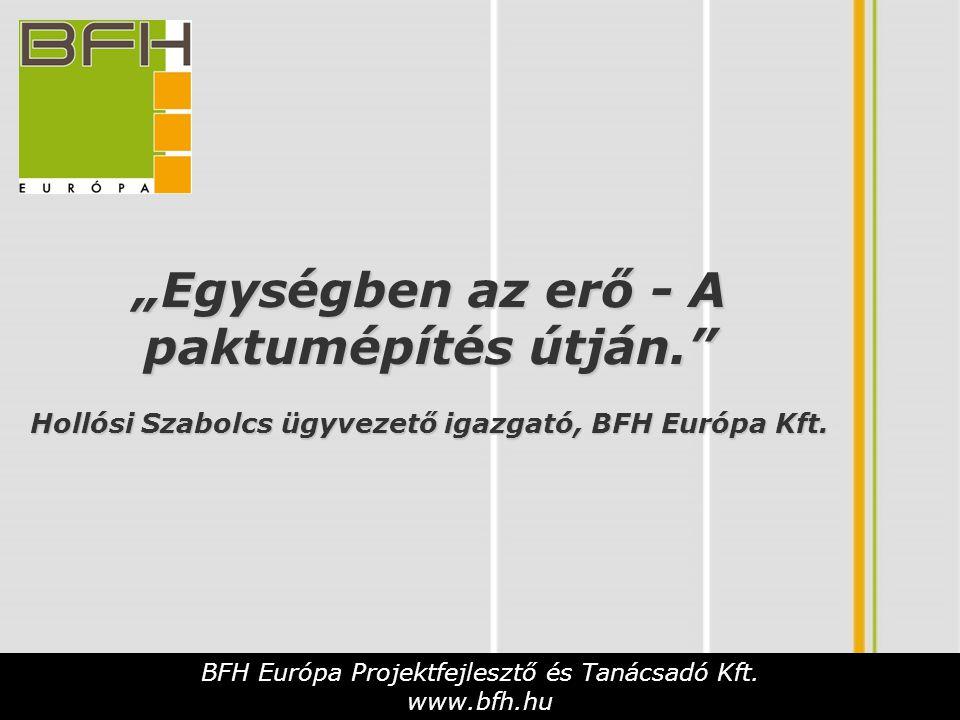 """""""Egységben az erő - A paktumépítés útján."""" Hollósi Szabolcs ügyvezető igazgató, BFH Európa Kft. BFH Európa Projektfejlesztő és Tanácsadó Kft. www.bfh."""