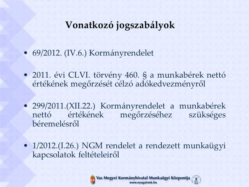 Vonatkozó jogszabályok 69/2012. (IV.6.) Kormányrendelet 2011.