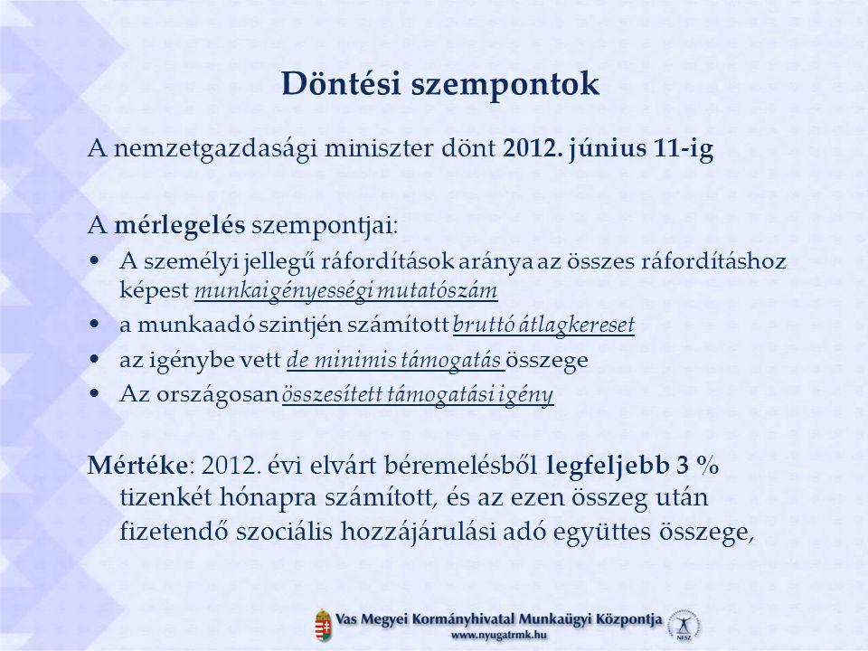 Döntési szempontok A nemzetgazdasági miniszter dönt 2012.
