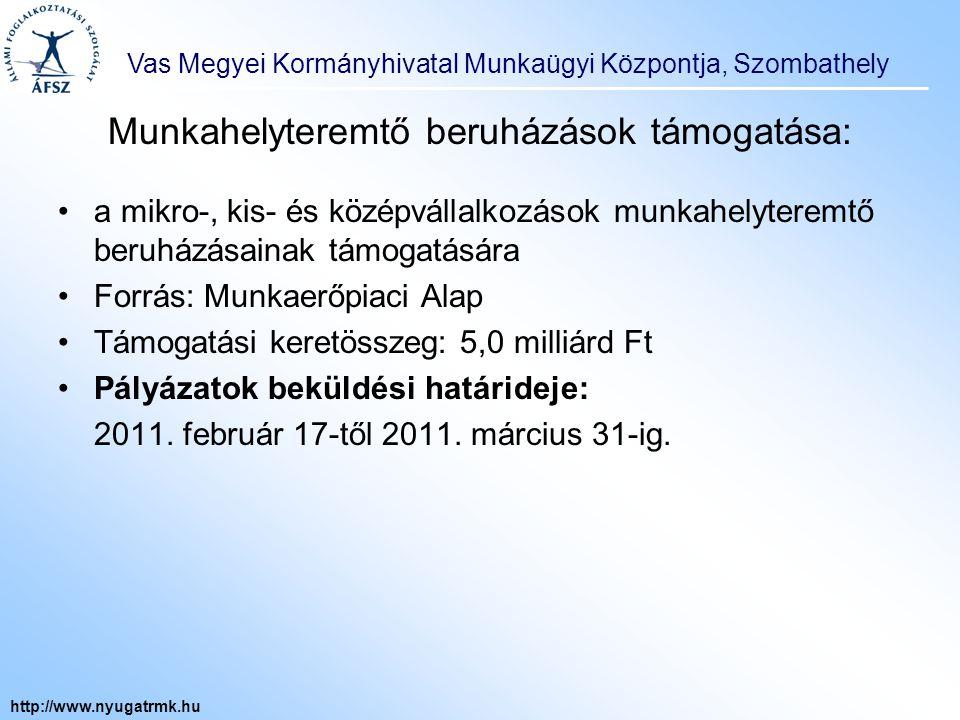 """Vas Megyei Kormányhivatal Munkaügyi Központja, Szombathely http://www.nyugatrmk.hu Vállalkozások számára nyújtható támogatás a bérpótló juttatásra jogosult álláskereső foglalkoztatásához a Társadalmi Megújulás Operatív Program 1.1.3 """"Út a munka világába elnevezésű program keretében : Célcsoport: bérpótló juttatásra jogosult álláskereső Mértéke: a munkabér és járulékainak legfeljebb 70%-a lehet Időtartama: legfeljebb nyolc hónap + foglalkoztatási kötelezettség A támogatás elbírálása, folyósítása: A támogatás mértékéről, időtartamáról, a támogatás részletes feltételeiről a munkaadó és a munkaügyi központ kirendeltsége hatósági szerződést köt."""