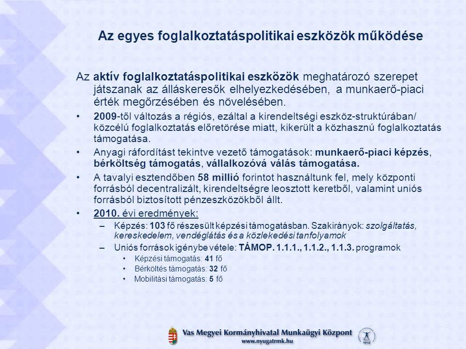 Az egyes foglalkoztatáspolitikai eszközök működése Az aktív foglalkoztatáspolitikai eszközök meghatározó szerepet játszanak az álláskeresők elhelyezke